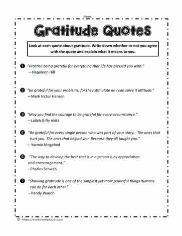 Gratitude Quotes Worksheets