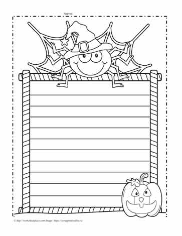 Halloween Writing Paper Worksheets