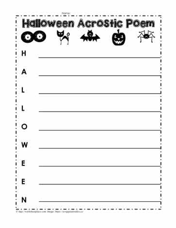 halloween acrostic poem worksheet worksheets. Black Bedroom Furniture Sets. Home Design Ideas