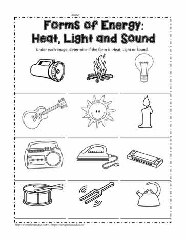 Heat, Light or Sound? Worksheets