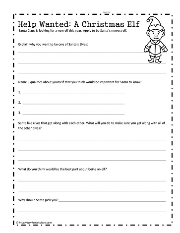 Christmas Help Wanted.Help Wanted An Elf Worksheets