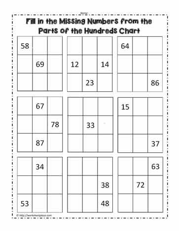image relating to Printable Hundred Chart referred to as Hundred Chart with Lost Figures Worksheets