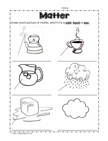 Idenftify the State of Matter Worksheets