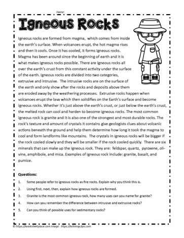 Igneous Rocks Comprehension Worksheets