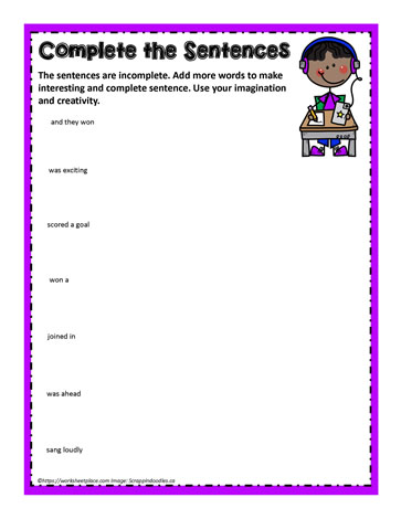 Incomplete Sentences Worksheets