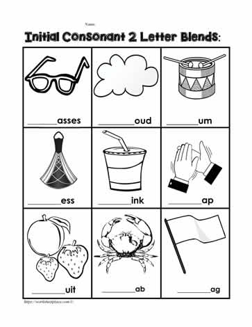 Phonics Initial Consonant Blends Worksheets