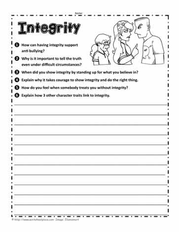 integrity questions worksheets