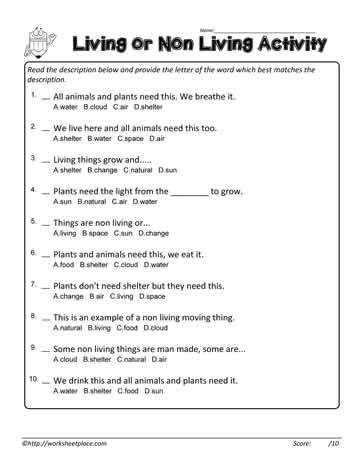 Can You Answer The Living And Non Living Multiple Choice Questions. Answers  For The Questions On The Living And Non Living Things Worksheet Are On The  ...