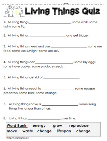 living things quiz worksheets. Black Bedroom Furniture Sets. Home Design Ideas