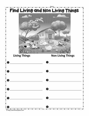 Find Living Things Worksheets
