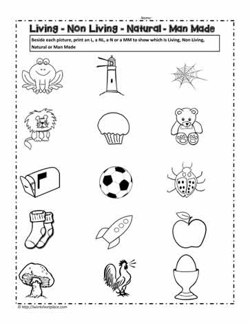 Living and non living things worksheet worksheets for Living and nonliving things coloring pages