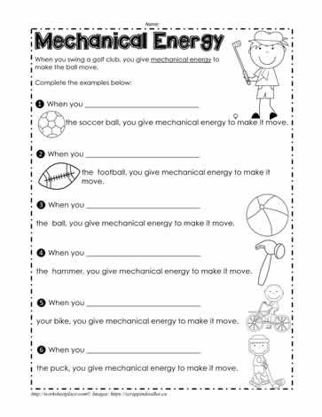 Energy worksheets 1st grade