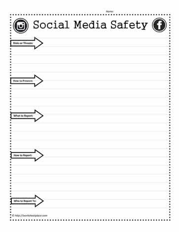 Social Media Safety Worksheets