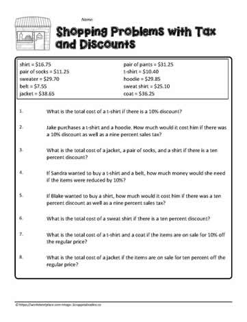 Word Problems with Tax and Discount