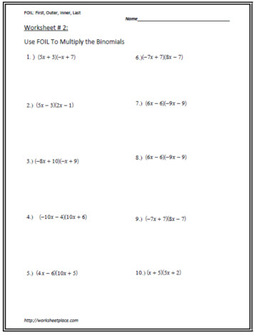 Multiply the Binomials Worksheet 2