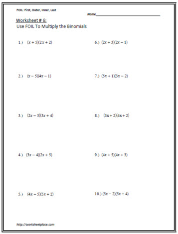 Multiply the Binomials Worksheet 6 Worksheets