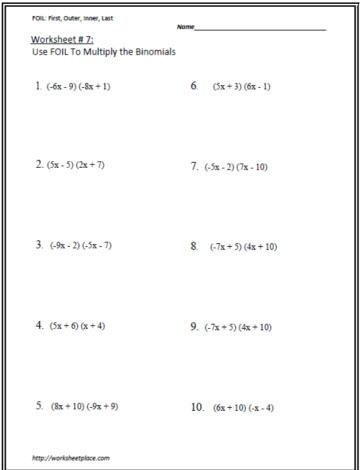 Multiply the Binomials Worksheet 7 Worksheets