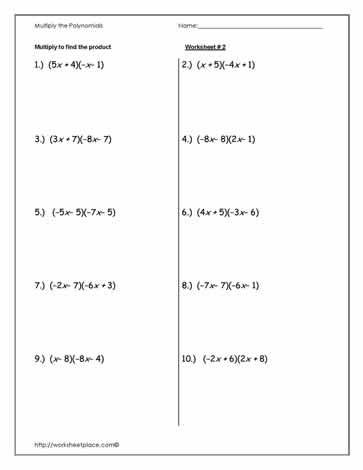 Multiply Polynomials Worksheet-2