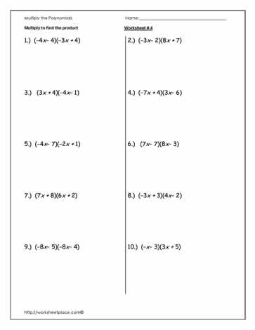 Multiply Polynomials Worksheet-4 Worksheets