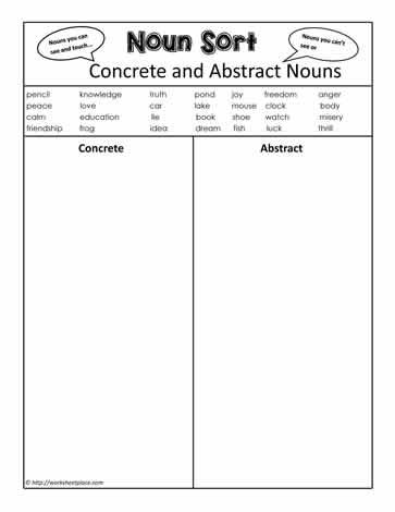 Nouns Worksheets | Concrete Nouns Worksheets