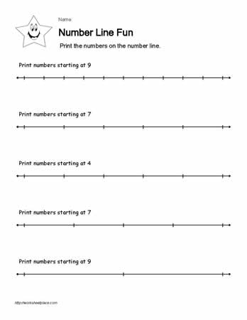 Numberline Worksheet 10 of 10