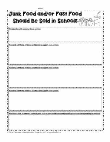 Junk Food at Schools? Your opinion? Worksheets