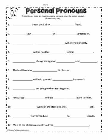 Personal PronounsWorksheets