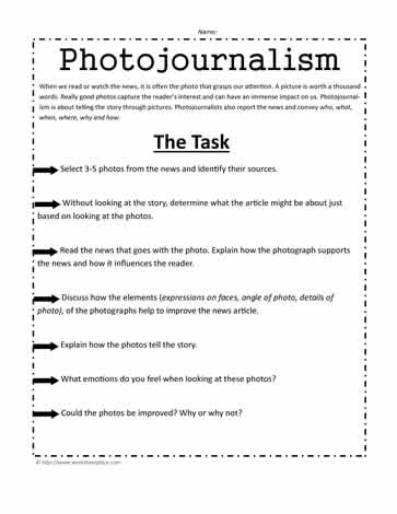 Photojournalism Worksheet
