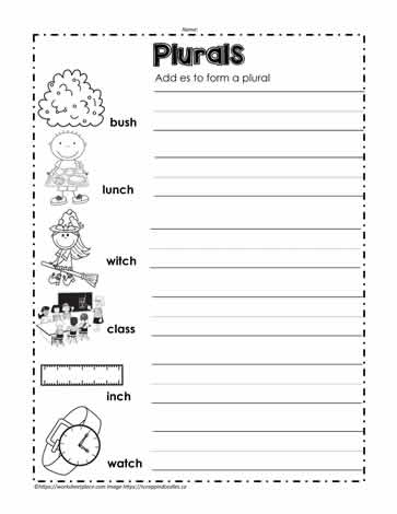 Add es to Make a Plural Worksheets
