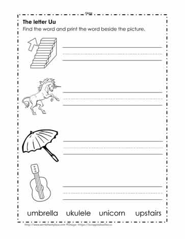 Print the Words Beginning with U Worksheets