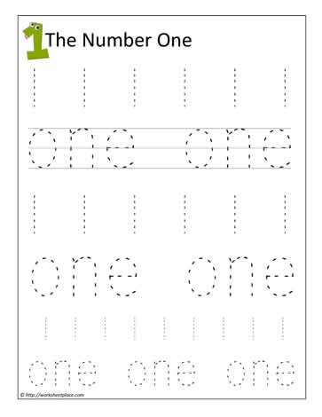 Number Names Worksheets number printing practice : Print the Number 1Worksheets