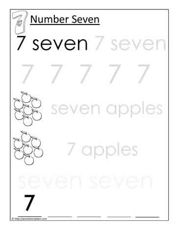 Print Number 7 Worksheets