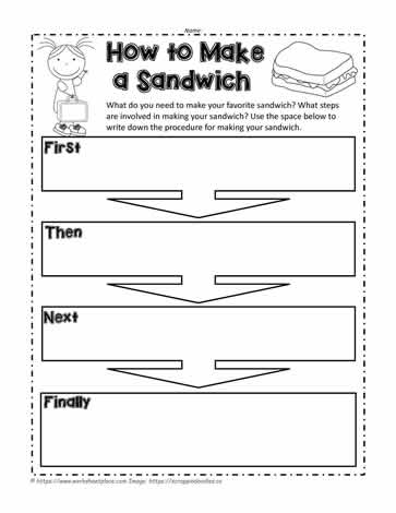 How To Make A Sandwich Worksheets
