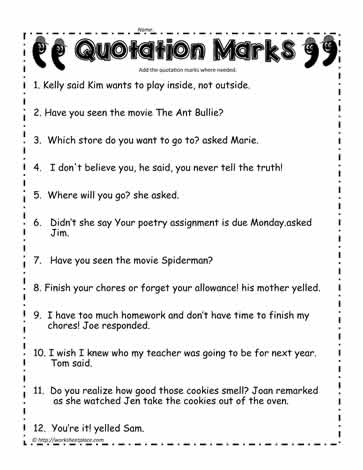 Quotation Marks Worksheet  #1