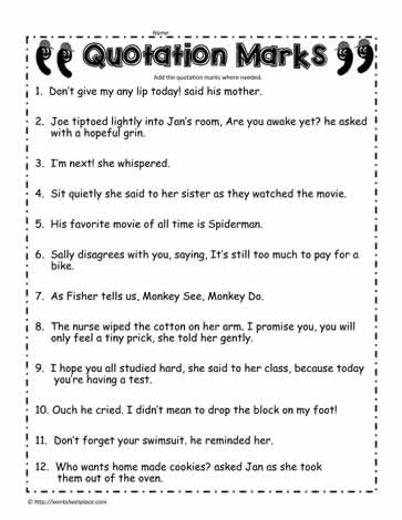 Quotation Marks Worksheet #2Worksheets