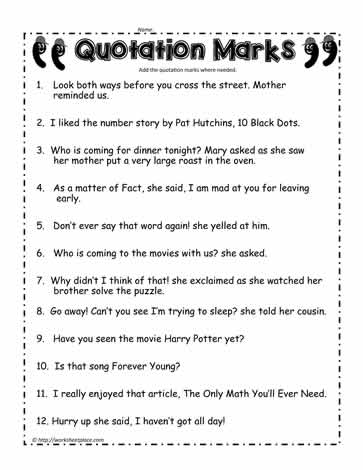 Quotation Marks Worksheet #3Worksheets