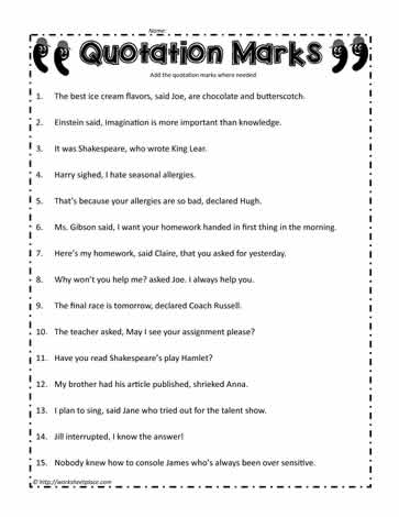 Quotation Mark Worksheets on Kindergarten Alphabets