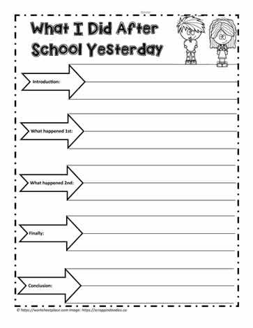 Recount After School Events Worksheets