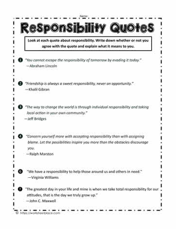 Responsibility Quotes Worksheets
