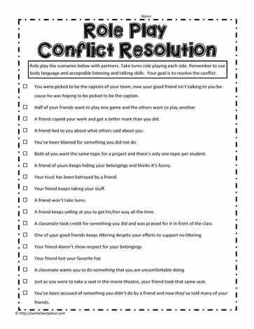 Role Play Examples Worksheets