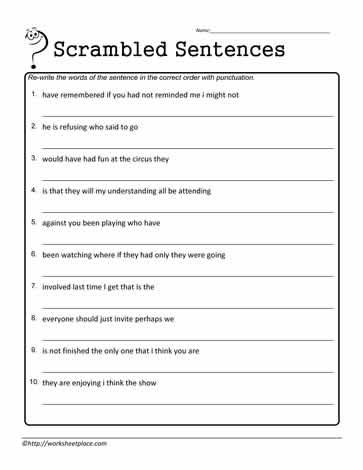 unscramble punctuate worksheets. Black Bedroom Furniture Sets. Home Design Ideas