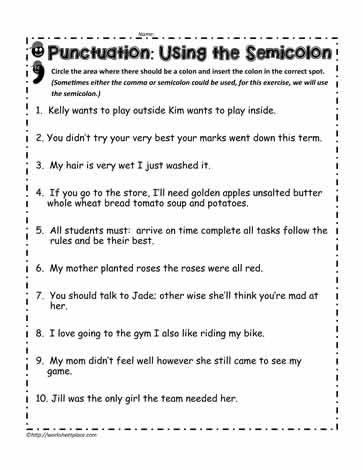 Semicolon Worksheets
