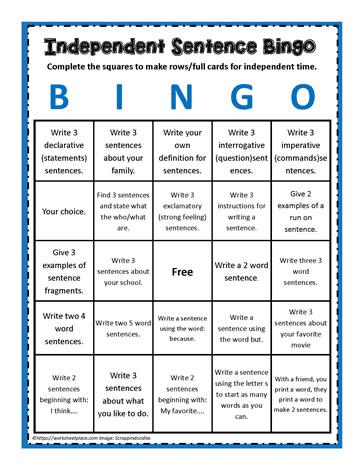 Sentence Bingo Worksheets