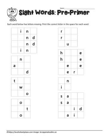 Missing Letter Sight Words
