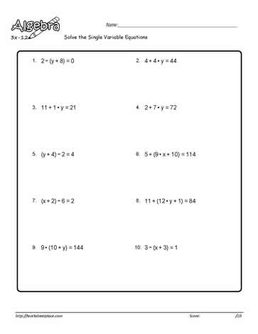 Single Variable Equation Worksheet 5