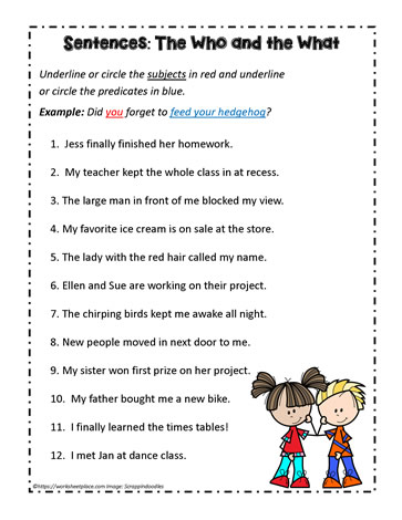 Identify the Subjects and PredicatesWorksheets