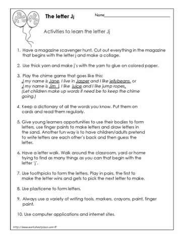 Teach The Letter J Worksheets