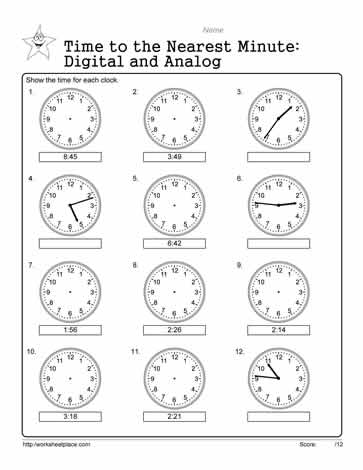 Analog and digital worksheets tell the time to the nearest minute on these analog and digital time worksheets grade 3 math worksheets for telling the time ibookread Read Online