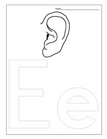 The Letter E Coloring Page Worksheets