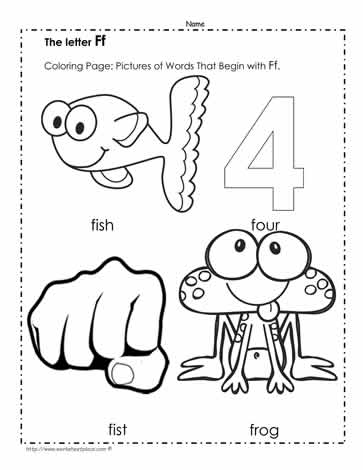 The Letter F Coloring Pictures
